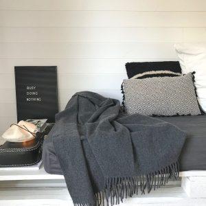 Plaid laine La Compagnie du Blanc Linge de maison housse de couette